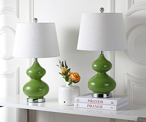 Safavieh Lighting Collection Eva Double Gourd Glass Table Lamp, Fern Green, Set of 2