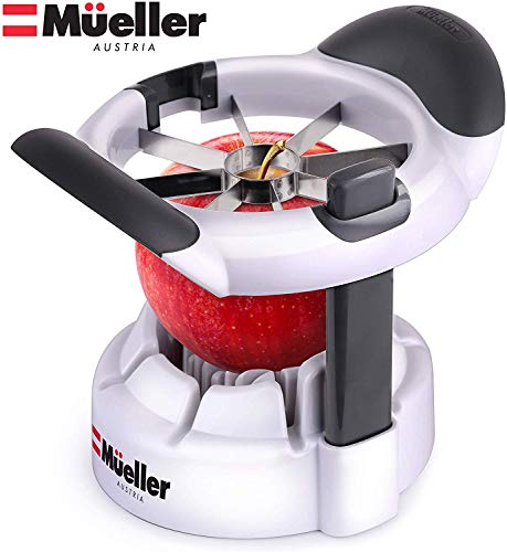 Mueller SpeedSlice Apple and Pear Slicer Corer, Heavy Duty, Attached Safety Cover Protects Fingers while In-Use and Blades while in Storage