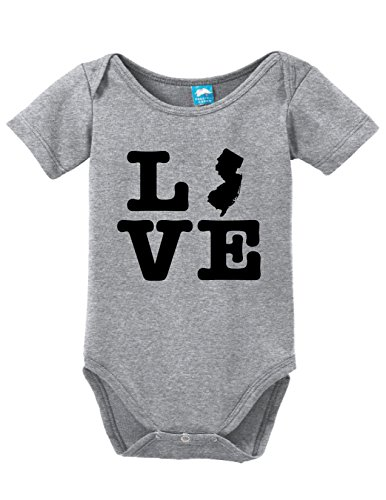 New Jersey Love Printed Infant Bodysuit Baby Romper Gray 3-6 Month -