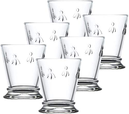 Napoleon Bee Tumblers Set Of 6 – 10 oz – Clear Glass Tumbler w/ The French Bee Embossed Design – Fine French Glassware…