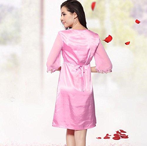 ZC&J La Sra exclusivo bordado verano fresco y cómodo vestido de manga transpirable baño camisón de la correa,pink,XL Pink