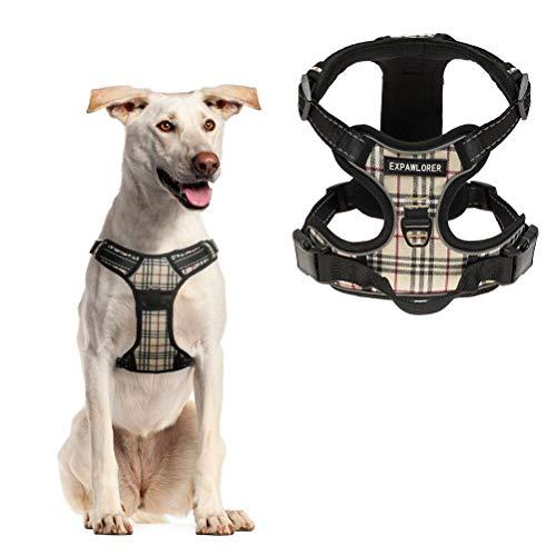 EXPAWLORER Best No-Pull Dog Harness. 3M Reflective Outdoor Adventure Pet Vest with Handle Beige L