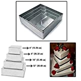 Set of 4 Tier Square Multilayer Birthday Wedding Anniversary Cake Tins / Pans / Mould by Falcon