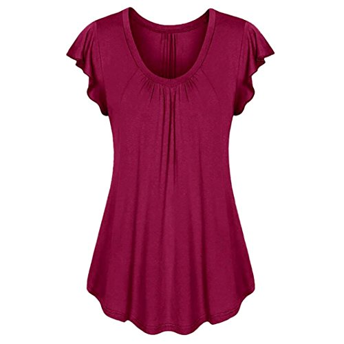 DEATU Cool Pure Color Women Row Pleats Ruffled Ruched O-Neck Irregular Short Sleeve T-Shirt Tops (XXXL, (Free Knitting Pattern Baby Dress)