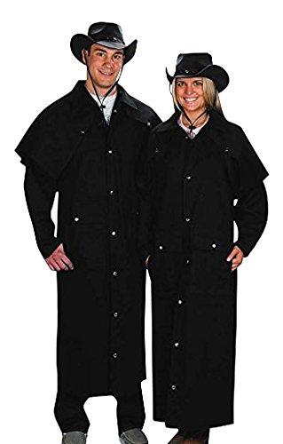 (Adult Black Denim Cotton Western Duster Jacket-Large)