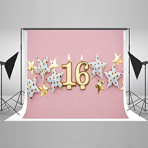 - Kate 7x5ft 16th Girl Birthday Photo Backdrops Microfiber Pink 16 Birthday Party 16 Years Party Props