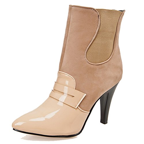 HiTime Bootie Chelsea Stilettos apricot Dress Boots Toe Elegant Western Short Womens Pointed Leather Patent Boots rwx08UBr