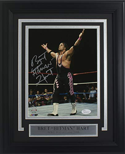 Bret Hart Signed Framed WWE 8x10 Hitman Photo -