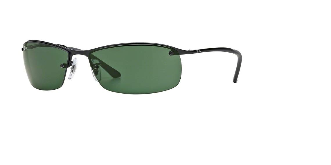 Ray-Ban Mens Sunglasses (RB3183) Black Matte/Green Metal - Non-Polarized - 63mm