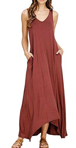 Les Femmes Cromoncent Réservoir Longues Robes Longues De Couleur Unie Sexy Poches Moulantes Bain Red1