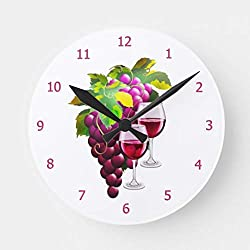 Moonluna Wine Grapes Wall Clock Non Ticking Decorative Wooden Clock Battery Operated for Bedroom 10 inches