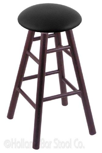 - XL Oak Bar Stool in Dark Cherry Finish with Black Vinyl Seat
