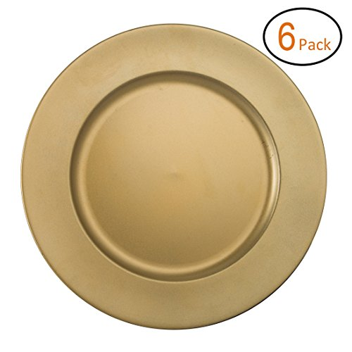 FANTASTIC :)  Round 13 Inch Plastic Charger Plates with Powder Coating Finish (6, Matte Plain Gold)