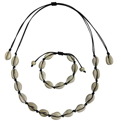 Seashell Necklace Choker And Bracelet Set,Haluoo Boho Cowrie Shell Necklace Natural Shell Beads Handmade Hawaii Wakiki Beach Choker Bohemian Corded Seashell Necklace And Bracelet For Women (Black)