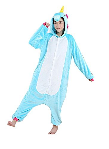 Teen Halloween Costumes 2016 (ABING Halloween Pajamas Homewear OnePiece Onesie Cosplay Costumes Kigurumi Animal Outfit Loungewear,2016 Blue Unicorn Adult S -for Height 150-158cm)