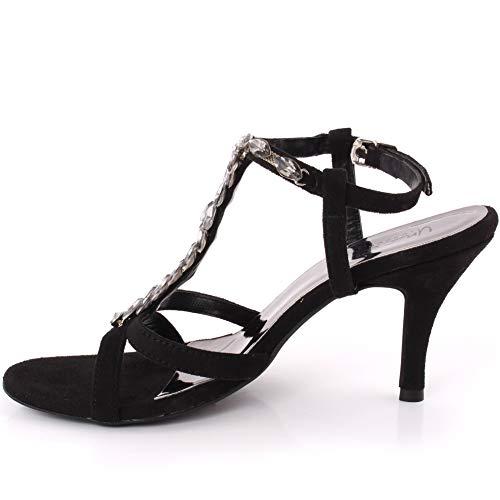 Cinturino Heel 8 3 Incrostati Stiletto Donne Sandals Uk Slittamento T Cady Design Le Crystal Fibbia Nero Dimensioni Sera Di Su Caviglia Bassa Alla Piattaforma Unze Nozze Dello Metà Formale qPFBpx