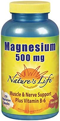 Nature's Life Magnesium Capsules, 500mg   High Potency Magnesium Supplement Plus Vitamin B-6 for Muscles & Nerves Support   250 Count