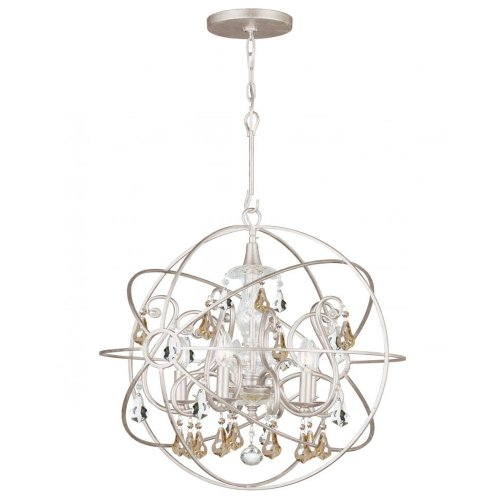 Crystorama 9026-OS-GS-MWP Transitional Five Light Chandelier from Solaris collection in Pwt, Nckl, B/S, Slvr.finish,