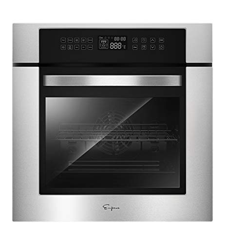 Empava 24 Inch Electric Single Wall Oven 10 Cooking Functions Deluxe 360° ROTISSERIE with Sensitive Touch Control in Stainless Steel, WOC12
