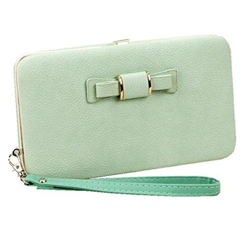 Wallet Case for Women Bow Leather Long Clutch Wallet Purse for 6 inch Cellphone Card Wristlet Handbag (Green) ()