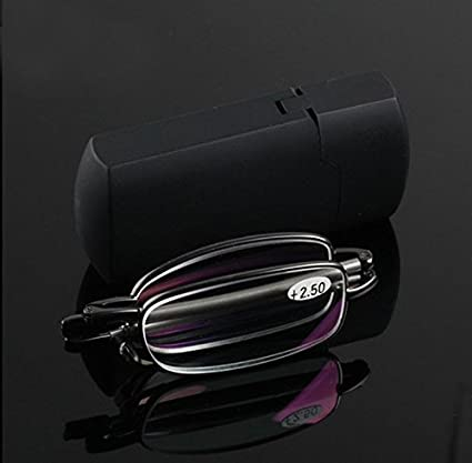 6ae1ba5e5e Image Unavailable. Image not available for. Color  Compact Folding Reading  Glasses Readers with Mini Flip Top Carrying Case for Men and Women +