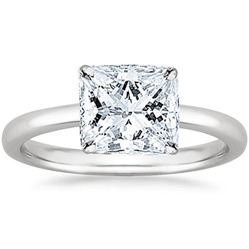 1/2 Carat GIA Certified 14K White Gold Solitaire Princess Cut Diamond Engagement Ring (0.5 Ct I-J Color, VVS1-VVS2 Clarity) - Vvs1 Clarity