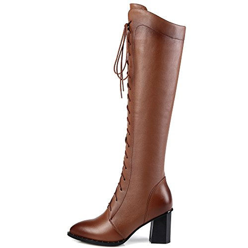 Nine Seven Lace Up High Handmade Knee Pointed Toe Leather Women's Comfort Heel Block Brown Genuine Boots TTaqdr