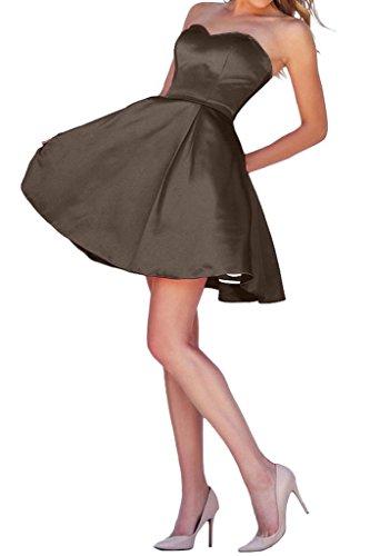 Braut Jugendweihe La Einfach Mini mia Kleider Abendkleider Kurz Braun Satin Herzausschnitt Cocktailkleider Festlichkleider Rock Z55rBqz