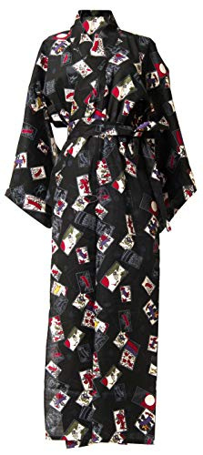 Kimura Jitsugyo Women's Kyoto Traditional Easy Wearing Kawaii Yukata Robe(Japanese Casual Kimono) Black & Hanafuda Set 2 Medium Woman