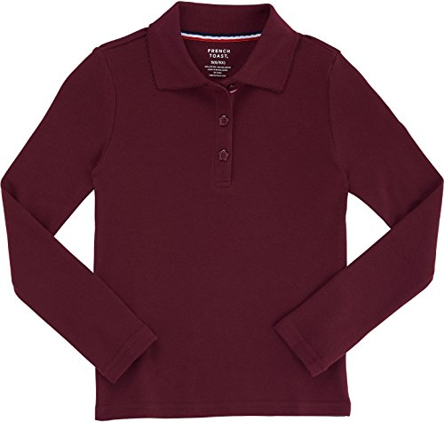 French Toast School Uniform Girls Long Sleeve Polo Interlock with Picot Collar, Burgundy, 2T