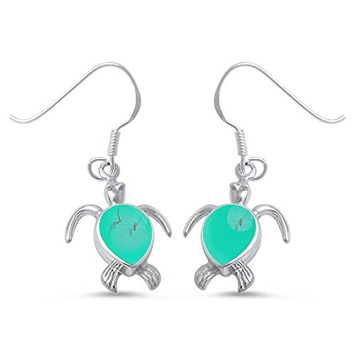 - Green Turquoise Turtle .925 Sterling Silver Earrings