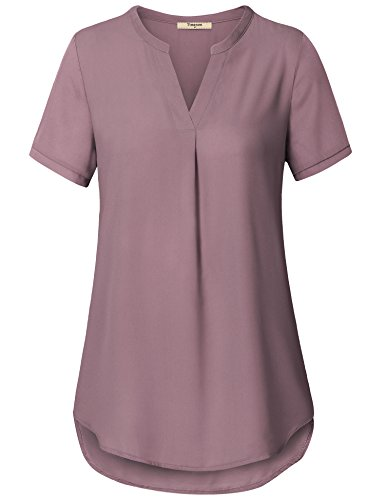 Tops, V Neck Short Sleeve Curved Hem Sheer Chiffon Leggings Tunic Shirts Light Violet X-Large ()