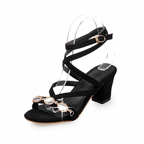 VogueZone009 Mujeres Tacón ancho Sólido Puntera Abierta Sandalias de vestir con Diamante Negro