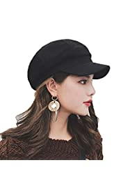 Taylormia Womens French Beret Wool Octagonal Cap Adjustable Newsboy Hat Gavroche Casquette