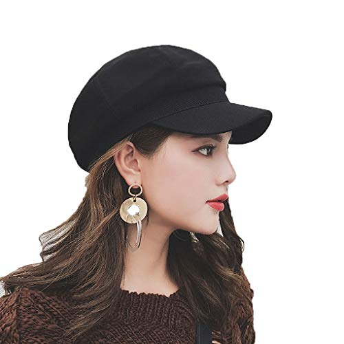 Taylormia Womens Fall Winter Classic Newsboy Cabbie Beret Hat Soft Warm Wool Octagonal Cap(Black) -