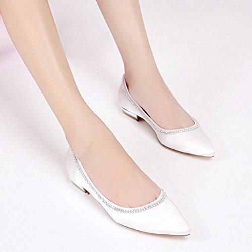 Kitten Verano Satén de Spool Boda Tacón Elobaby White Spring Mujer Vestido Flores 1 Zapatos 8cm Noche y Yq8tz