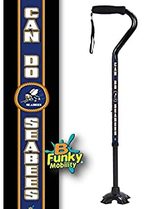 Adjustable Walking Cane Foam Handle Quad Footed Four Pointed Cane Tip US Navy Sea Bees Military Cane from BFunkyMobility