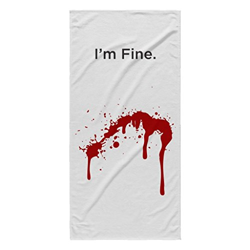 "I'm fine. Fake Blood Splatter | Funny White 30"" X 62"" Beach Towel"