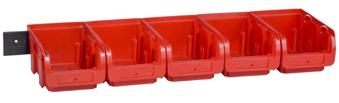 Allit 457046 5 Sichtboxen und 1 Wandschiene Set Stapelsichtbox Regalbox Box Kleinteile Set