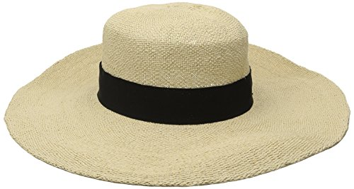San Diego Hat Company Women's Boater Hat with Black Ribbon Trim and Bow, Natural, One (Ribbon Bow Trim)