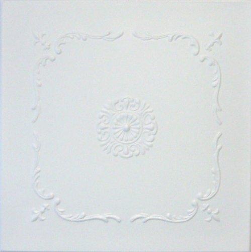 R43W 20 x 20 Tin Looking Styrofoam Glue Up White Ceiling Tile (Best Emulsion Paint Sprayer)