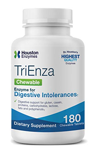 Houston Enzymes TriEnza - 180 Chewable Tabs (45 Doses) | Broad-Spectrum Enzymes for Digestive Intolerances | Supports Digestion of Gluten, Casein, Soy, Proteins, Carbohydrates, Sugars, Fats & Phenols