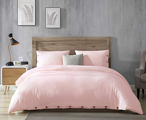 EXQ Home 100% Washed Cotton Pink Duvet Cover Set Full/Queen Size 3 Pcs, Super Soft Hotel Collection Bedding Vintage Comforter Cover with Button Closure (Hypoallergenic, Breathable)