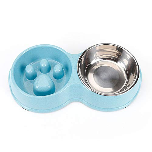 JIUZO Slow Feed Dog Bowl Small,Double Slow Feed Bowl of Dog,Catfeeders and waterersw Feeding Bowl Food Water Feeder…