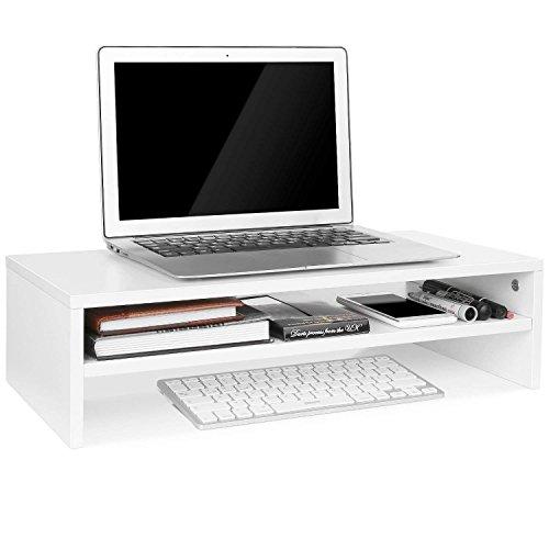 Homfa Soporte de Monitor Elevador de Pantalla Organizador para Escritorio Ordenador con Almacenamiento Blanco 54X25.5X14cm