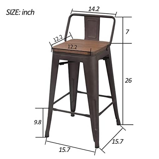 Farmhouse Barstools Yongchuang Metal Barstools Industrial Counter Height Bar Stools Set of 4 (26″ Wood Top Low Back, Gunmetal) farmhouse barstools