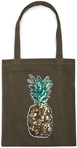 Applique Stylebreaker Bag Canvas black Tote Color Shopping Olive Pineapple With Sequin Unisex Bag 02012215 Fabric Bag wBRXxBq