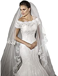 2 Tiers 3M Cathedral Long Wedding Veil Lace Bride 2017