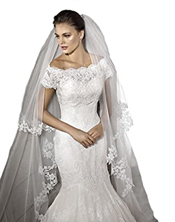 Gogh Champagne Tiers Cathedral Long Wedding Veil Lace Bride
