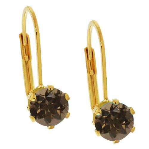 Smoky Quartz Yellow Earrings - 2